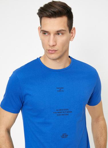 Koton Yazılı Baskılı T-Shirt Mavi